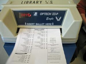 Ballot in voting machine